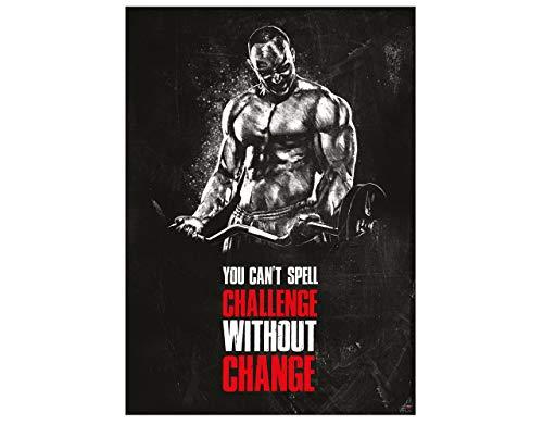 GREAT ART Poster Motivacional 59.4 x 42 cm - Formato A2 póster de Fitness Citas motivacionales - You Can`t Spell Challenge Without Change - no.9
