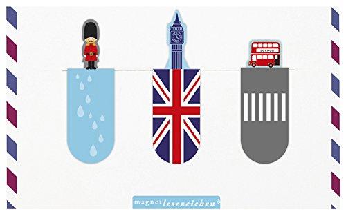 moses. 81701 Magnetlesezeichen London 3er Set, magnetisches Lesezeichen, charmant illustriert