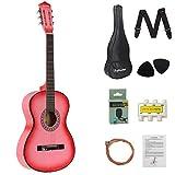 DAWOO 38-Inch Acoustic Guitar,Classic Guitar,Beginner Music Lovers Guitar Set (Pink)