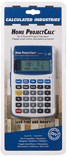 Calculated Industries 8510 Home ProjectCalc Do-It-Yourselfers Feet-Inch-Fraction Project Calculator | Dedicated Keys for Estimating Material Quantities and Costs for Home Handymen and DIYs, White