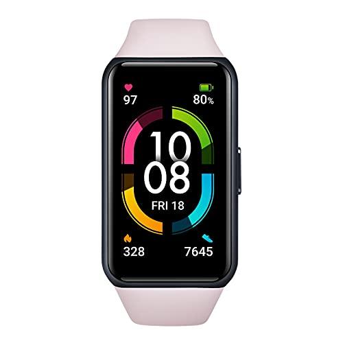 HONOR Band 6 Pulsera Inteligente de Actividad, Monitor de Actividad, Pantalla Pulsómetro Fitness Tracker, SpO2, 1.47' Pantalla AMOLED a Color Smartwatch para Mujer Hombre, Rosa