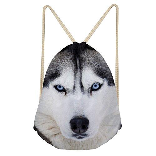 Chaqlin - Sac à dos motif animal - Avec cordon de serrage - Pour femme - Petit sac de rangement - Sac de gymnastique, femme, S-3119Z3, Husky, petit