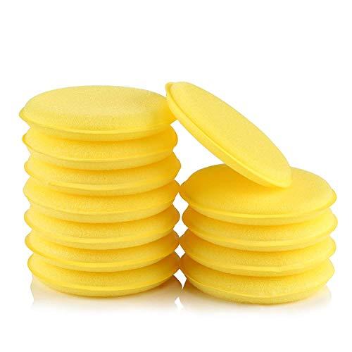 LIHAO 12 Esponjas Coche Espumas Esponjas Cera para Limpiar Coche Vehículo Vidrio (Amarillo)