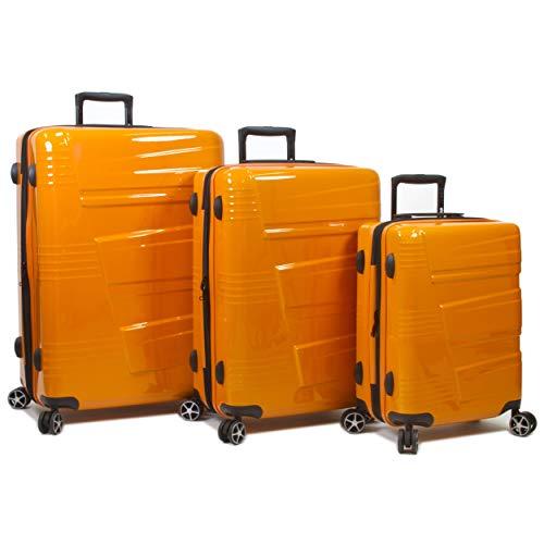 Dejuno Lumos Hardside 3-Piece Expandable Spinner Luggage Set, Orange