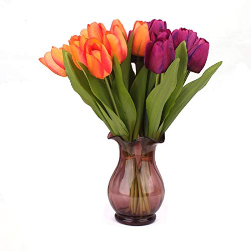 JUZHANG Yellow Real Touch Tulip Flower For Wedding Bouquet Decorate With Leaves (Color : Orange)
