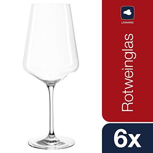 Leonardo Puccini Rotwein-Gläser, Rotwein-Kelch mit gezogenem Stiel, spülmaschinenfeste Wein-Gläser, 6er Set, 750 ml, 069554