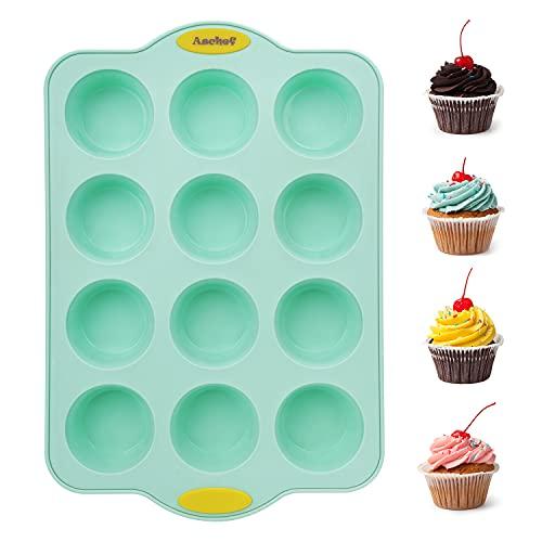 Aschef-Stampo in silicone per 12 muffin cupcake e torte stampi per teglie da forno (anima in metallo rinforzato) - Grado alimentare antiaderente senza BPA per cupcakes, brownies, muffin, budino,verde