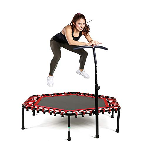 Safly Zone Mini Trampoline for Kids Adults with Adjustable Handle Bar 50in Fitness Indoor Rebounder Trainer Long Lasting Superior Bungee Cords, Red