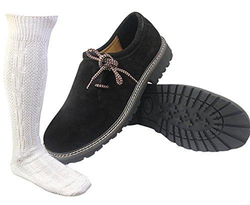 ALL THE GOOD Trachten Schwarz Schuhe + Trachtensocken socken Haferlschuhe Almhaferl Trachtenschuhe SW01 (43)