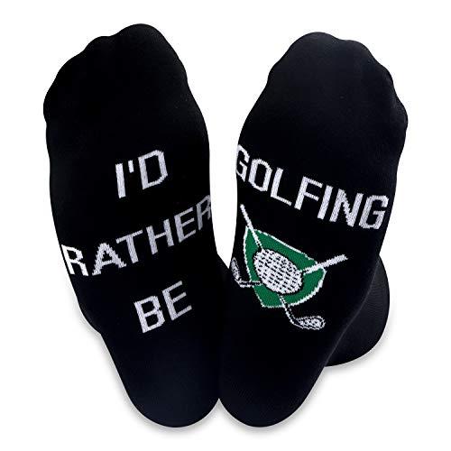 Calcetines de golf con el texto en inglés «I'd Rather Be Golfing» para hombres amantes del golf, regalo para el día del padre
