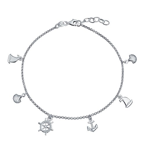 Nautical Multi Charm Dangle Anchor Sailboat Ship Wheel Sea Shell Anklet Ankle Bracelet For Women Sterling Silver 9-10 In