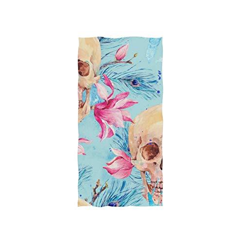 Mnsruu - Toalla de Mano, diseño de Calavera y magnoli para baño, Gimnasio, Playa y SPA