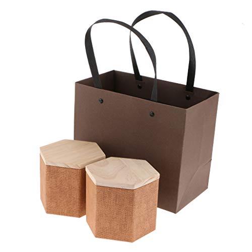 FLAMEER 2 Stück Holzdeckel Aufbewahrungsboxen Holzbehälter Organizer Tee Aufbewahrungsbox Caddy Gläser Kaffeedosen - Braun