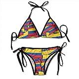 Traje de baño de dos piezas acolchado bikini traje de baño para mujer Bandera de Colombia Talla única
