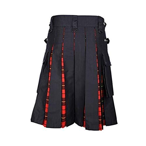 JiXuan Nuevos Hombres Scottish Kilt Patchwork Plaid Falda Casual Pantalón Hombres Punk Hip Hop Falda Pantalones Elegante Falda de Escocia