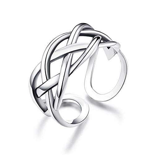 GULICX 925 Sterling Silver Ring for Women, Adjustable Solid Vintage Silver Thumb Ring, Unisex Resizable Celtic Knot Open Finger Ring, Silver Knuckle Toe Rings for Men Ladies Girls, Gift for Christmas