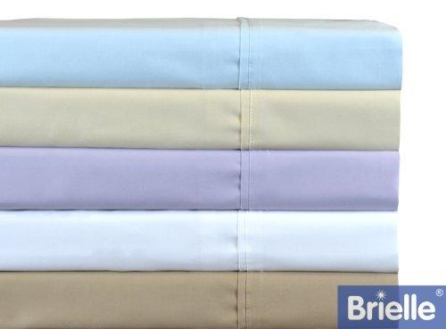 Brielle Ultra Light 380-Thread Count Pure Cotton Sateen Sheet Set, King, Blue