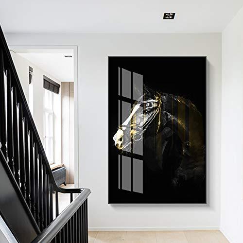 Baodanla Geen lijst stap voor stap gezicht ng boek Contempory, donkere Horse canvas Horse Eye Oil ng, woning printen, bedrijf behang