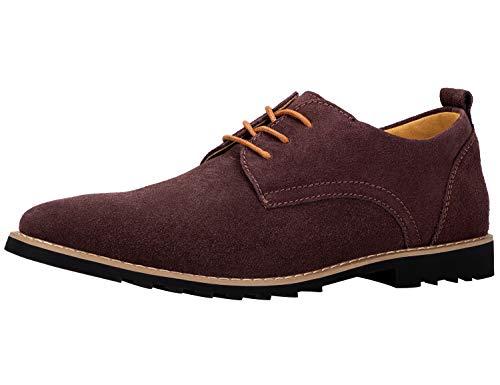 iloveSIA Schnürhalbschuhe Herren Classic Business Schuhe aus Wildleder Lederschuhe Derbys Anzugschuhe Braun 46 EU - US12