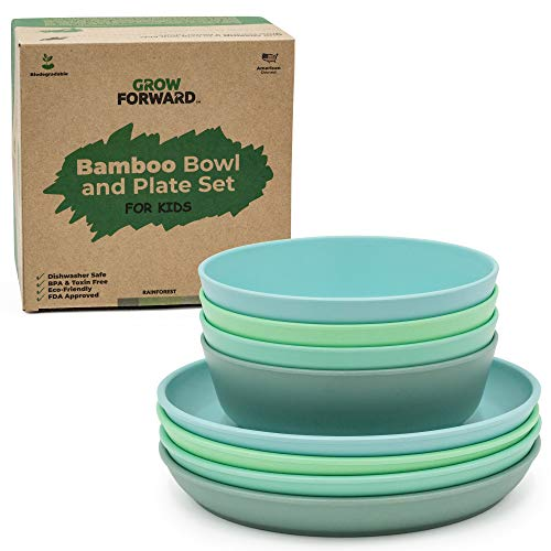 Grow Forward Kids Bamboo Bowl and Plate Set - 4 Bamboo Plates & 4 Bamboo Bowls - Toddler Dishes - BPA Free & Dishwasher Safe - Eco Friendly Biodegradable Reusable Dinnerware - Rainforest