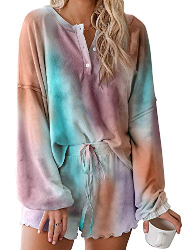Asvivid Womens Summer Tie Dye Printed Two Piece Sleepwear Frill Long Sleeve Tops Shirt and Shorts Lounge Set Soft PJS M Multi