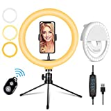 10.2' LED Selfie Ring Light with Adjustable Tripod Stand&Phone Holder & Mini Dimmable Beauty Ringlight Circle Light Compatible with iPhone/Android for YouTube Video/Makeup/TikTok/Live Stream