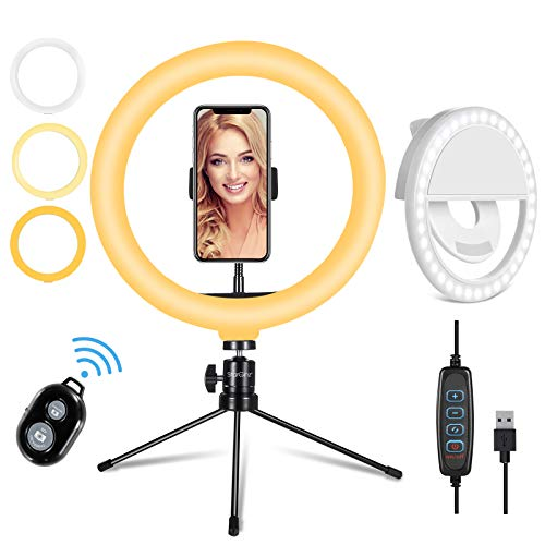 "10.2"" LED Selfie Ring Light with Adjustable Tripod Stand&Phone Holder & Mini Dimmable Beauty Ringlight Circle Light Compatible with iPhone/Android for YouTube Video/Makeup/TikTok/Live Stream"