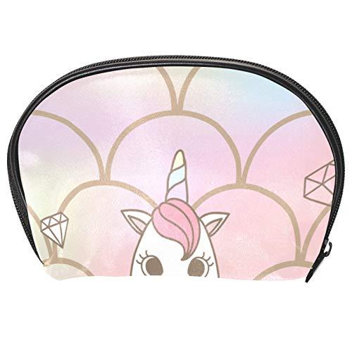 Neceser de Maquillaje Estuche Escolar para Cosméticos Bolsa de Aseo Grande Linda Sirena Unicornio Decorada con Conchas Marinas