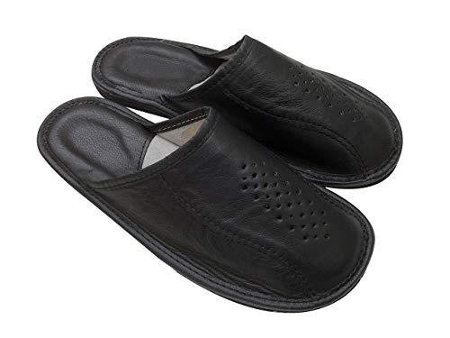 Schwarze Leder Pantoletten für Herren Hallenschuhe für Herren Hausschuhe Größen 42 43 44