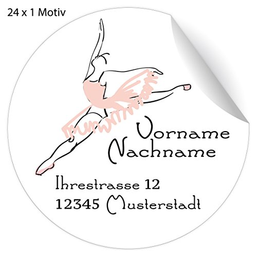 24 mooie balletstickers, met roze ballerina, matte papieren stickers met hun tekst voor geschenken, universele etiketten, naamborden voor tafeldecoratie, school, pakketten, brieven (4,5 cm) 5 x 24 stickers
