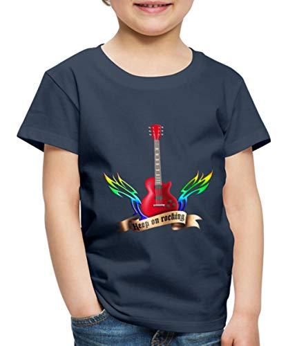 Guitars and Wings Keep On Rocking Gitarre Kinder Premium T-Shirt, 122-128, Navy