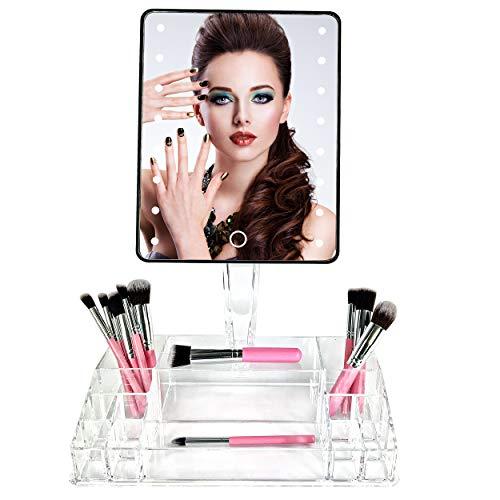 SHAP WOW Espejo Maquillaje con Luz y Set Pinceles Maquillaje x10 con...