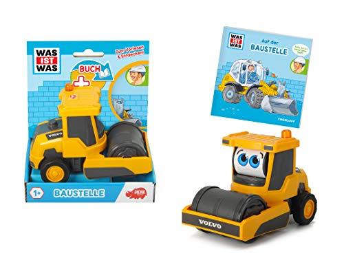 Dickie Toys Was ist Was-Baustelle, Volvo Walze mit Freilauf, drehende Augen, inkl. Was ist Was Buch, farbecht und speichelfest, Spielzeug ab 1 Jahr, Bauernhof Spielzeug, 14,5 cm, gelb