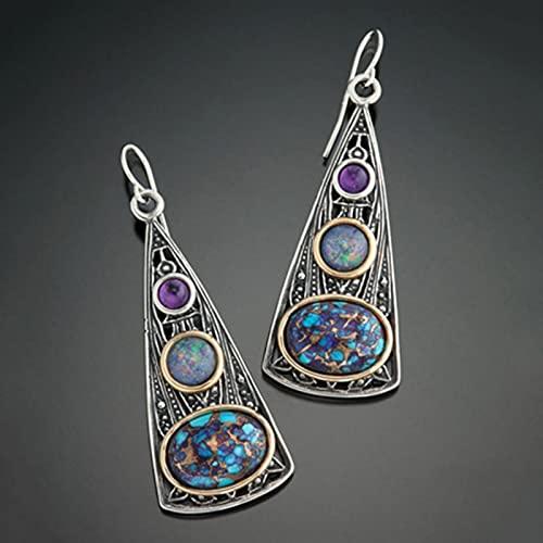 CXWK Pendientes Azules con Flores de Hoja Pintada Bohemia para Mujer, joyería Tribal Hecha a Mano, Pendiente Colgante Vintage de Cristal, Pendientes