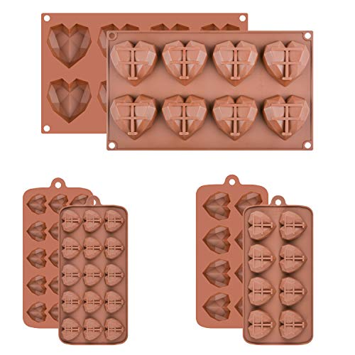 3 Packs Diamond Heart Silicone Molds for Chocolate  Regular Small Mini Heart Love Shape Candy Molds Silicone 3D Silicone Heart molds for Chocolate Cocoa Bombs Cake Jello Cubes Soaps Brown