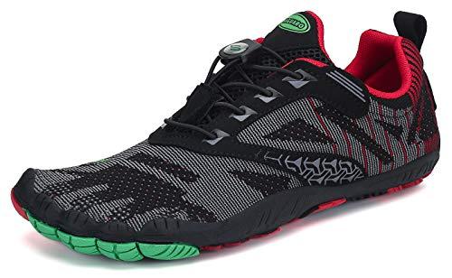 SAGUARO Hombre Mujer Barefoot Zapatillas de Trail Running Escarpines de Deportes Acuaticos Transpirable Calzado Minimalista para Fitness Entrenamiento Gimnasio, Rojo 43 EU