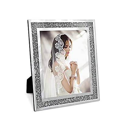 Afuly Glass Picture Frame 8x10 Silver Sparking Photo Frame for Wall Hanging and Tabletop Display Gifts for Wedding