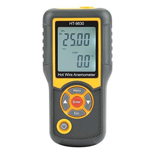 Akozon Anemómetro Digital HT-9830 LCD Digital Digital de Mano Medidor de Velocidad del Viento Medidor Medidor Anemómetro Medidor de Velocidad del Viento de 5 Unidades Medidores de Viento AC 100-240V
