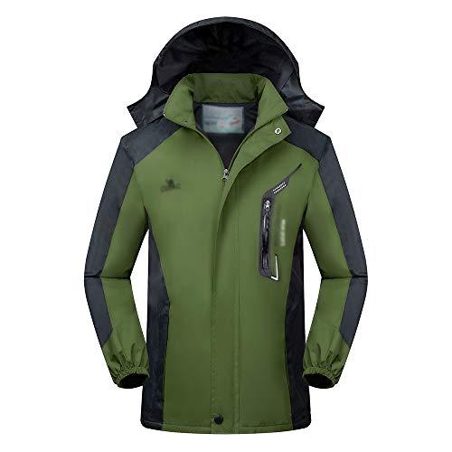 KINDOYO Veste D'extérieur pour Hommes - Casual Respirant Coupe Vent Imperméable Alpinisme Randonnée Veste, Vert, EU 3XL=Tag 4XL