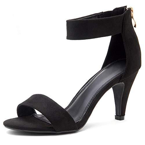 Herstyle RROSE Women's Open Toe High Heels Dress Wedding Party Elegant Heeled Sandals Black 9.0