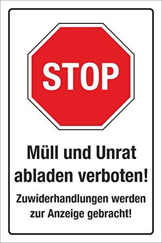 WERBEPUNKT. Schild Hinweisschild Müll und Unrat abladen verboten 3 mm Alu-Verbund 300 x 200 mm