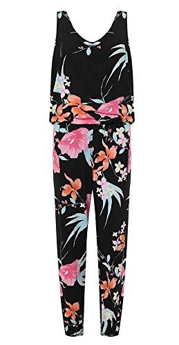 Funky Fashion Womens Bloemen Print Ronde hals Mouwloos Jumpsuit Broek Plus Maat 14-28