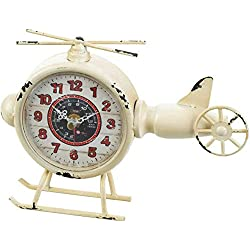 NML White Helicopter Desk Clock- 9.50 x 2.00 x 7.00