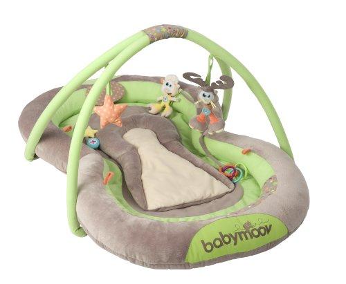 Babymoov Spieldecke, mit Spielbogen, weiche Polsterung, ergonomisch geformt, taupe/ grün, 100 x 65 x 10 cm