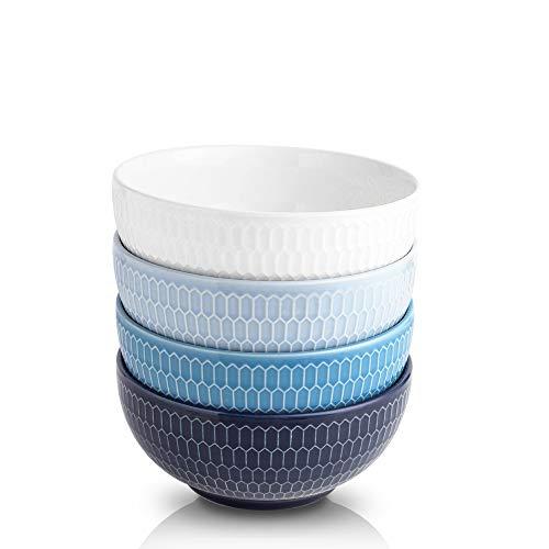 KOOV Porcelain Cereal Bowl Set, 24 Ounce Soup Bowl Set
