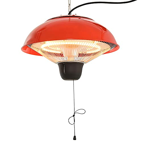 Outsunny 1.5KW Garden Electric Halogen Patio Heater Hanging Lamp Aluminum Outdoor Ceiling Mounted Heat Warmer - Red