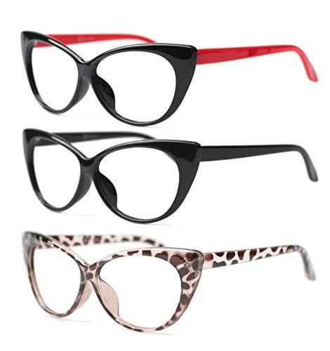 SOOLALA 3-Pair Value Pack Fashion Designer Cat Eye Reading Glasses for Womens, 1.5D Alaska
