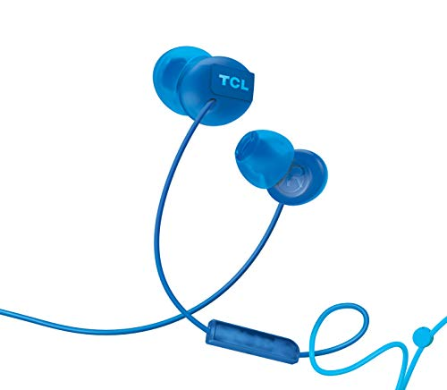 TCL SOCL300 In-Ear Earbuds Wired Noise Isolating Headphones with Built-in Mic and Echo Cancellation – Ocean Blue