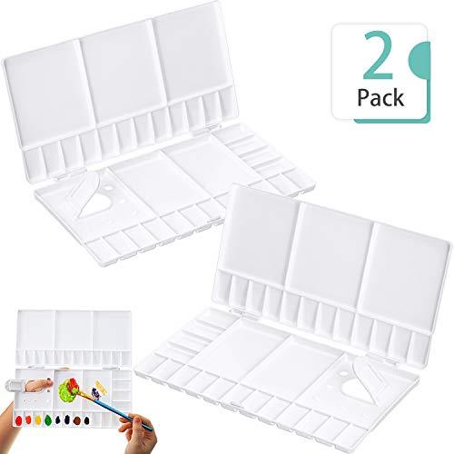 2 Pieces Folding Paint Palette Plastic Palette Box Art Watercolor Palette with Thumbhole for Gouache Acrylic Oil Paint Pigment Tool (10 x 5 Inches)