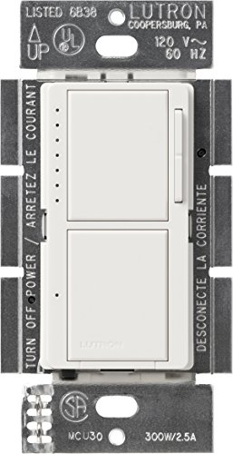 Lutron, White MA-L3S25-WH Maestro 300 Watt Single-Pole Dual Dimmer and Switch, 1 pack